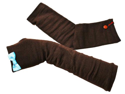 Fingerlose Handschuhe Stulpen Schleife Hellblau