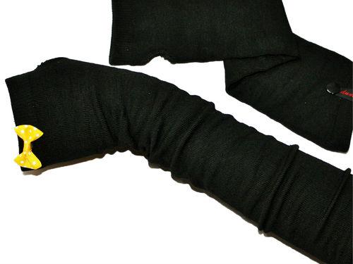 Fingerlose Handschuhe Stulpen Schleife Gelb