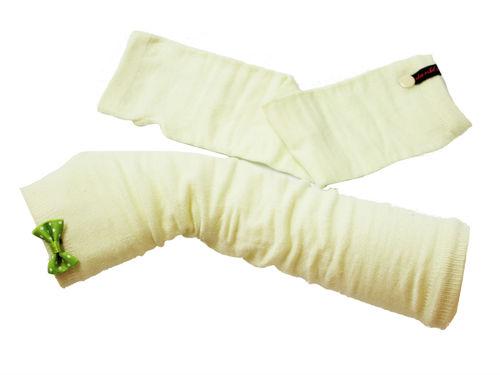 Fingerlose Handschuhe Stulpen Schleife Grün