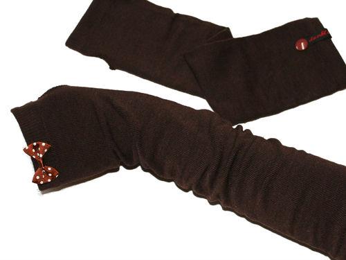 Fingerlose Handschuhe Stulpen Schleife Braun