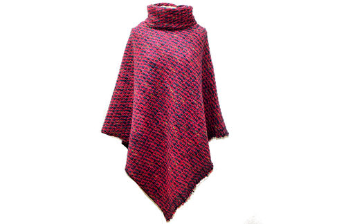 Poncho Wolle Pink Bunt