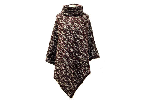 Poncho Wolle Grau Weinrot Boucle