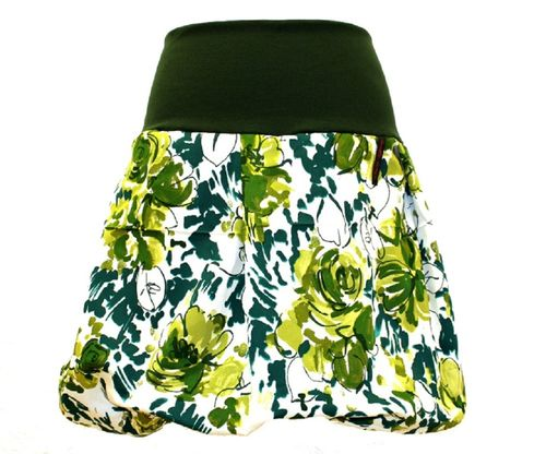 bubble skirt green white