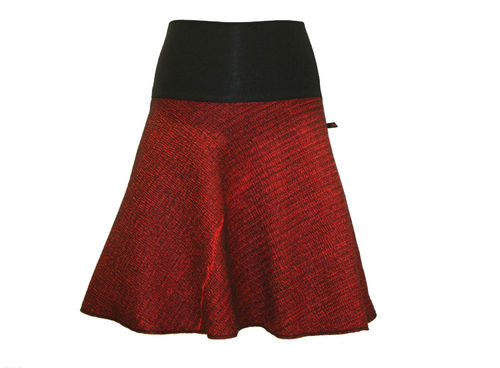 skirt midi wool red