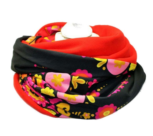 infinity scarf fleece flowers 70er
