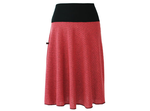 skirt calf length knit pink
