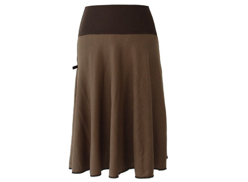 skirt calf length knit brown