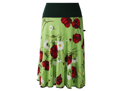 skirt calf length knit green