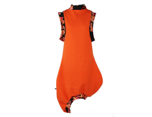 balloon dress woll dress orange