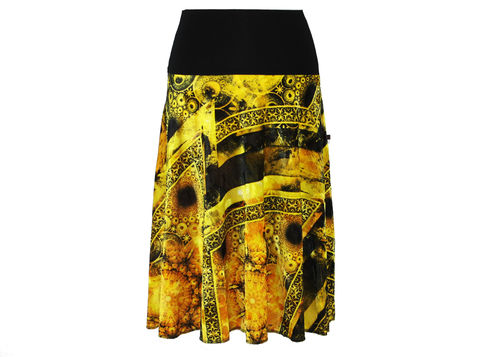 skirt calf length velvet black yellow