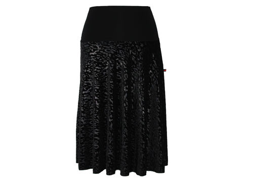 skirt calf length velvet black
