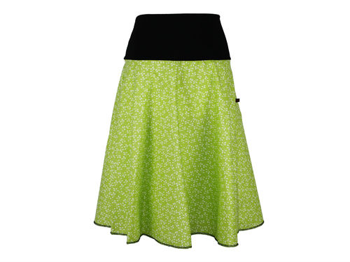 skirt calf length green leaves