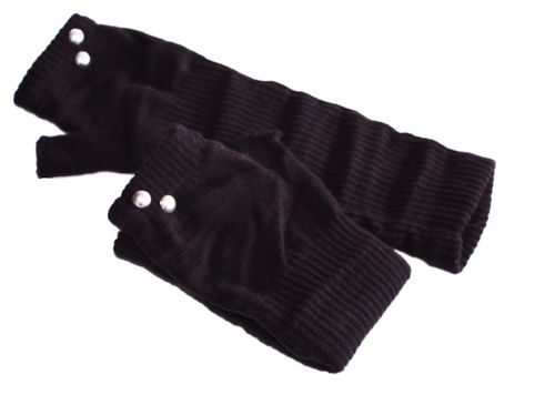 fingerlesse gloves rivet brown