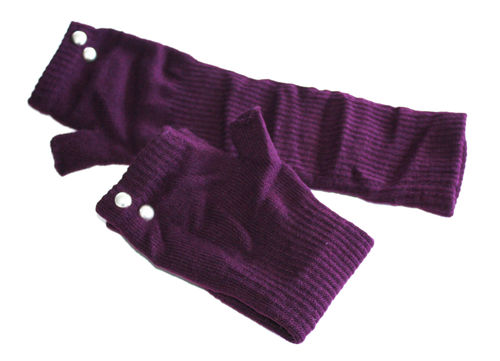 fingerlesse gloves rivet aubergine metal
