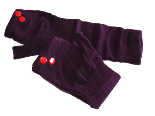 fingerlesse gloves rivet aubergine red