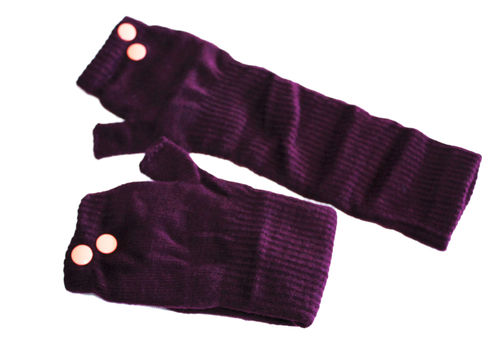 fingerlesse gloves rivet aubergine Lacks