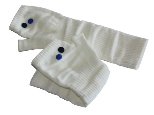 fingerlesse gloves rivet creme blue