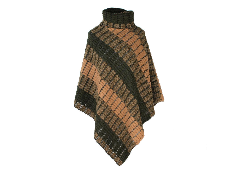 Poncho mit Kragen Wolle Boucle