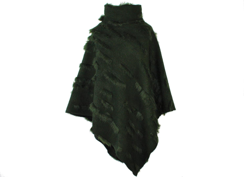 Poncho mit Kragen Grün Strick Zottel