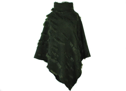 cape collar green knit pom-pom