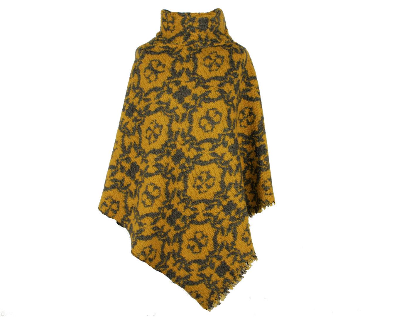 Poncho mit Kragen Grau Gelb