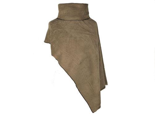 Poncho Kurz Taupe Fleece