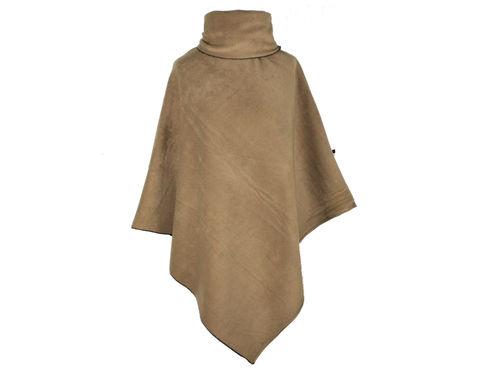 Poncho mit Kragen Taupe Fleece