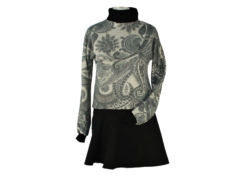 Winterkleid Langarm Schwarz Grau