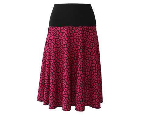 skirt calf length knit pink black