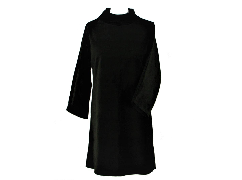 Kleid Langarm Samt Schwarz