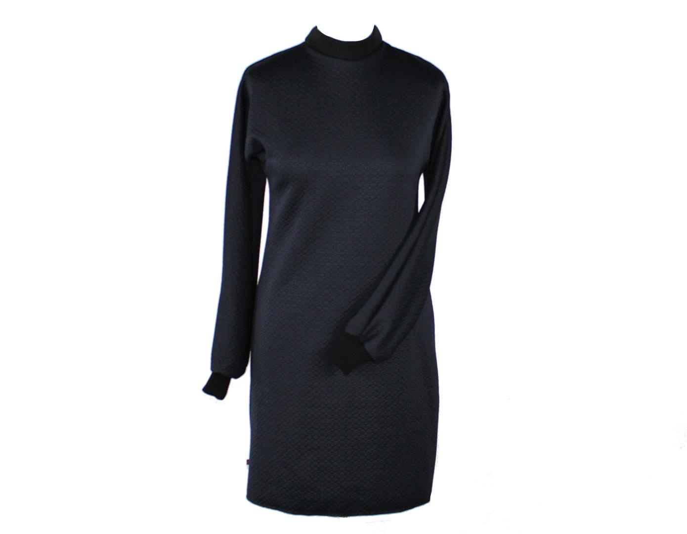 Kleid Langarm Cloque Jersey Schwarz