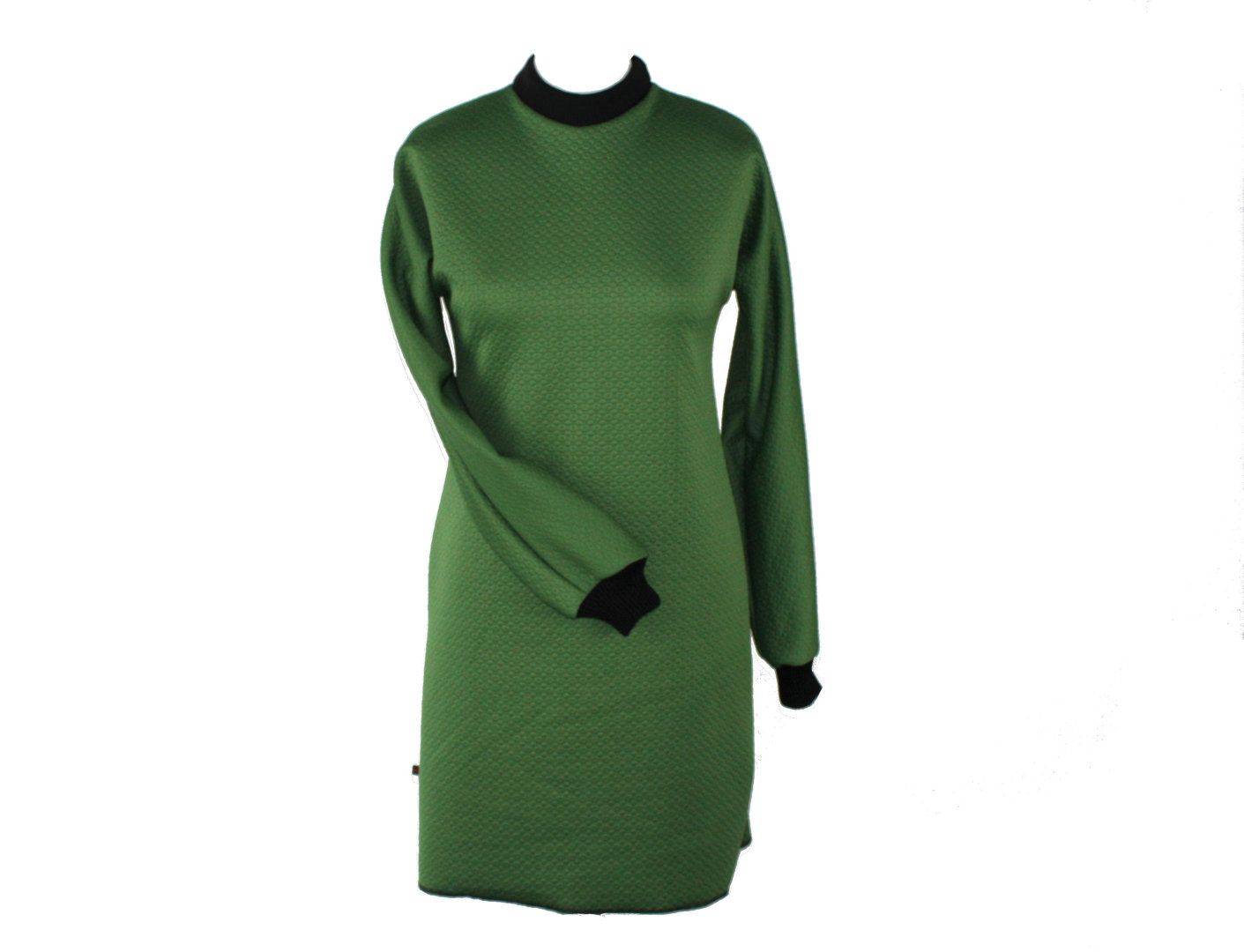 Kleid Langarm Cloque Jersey Grün