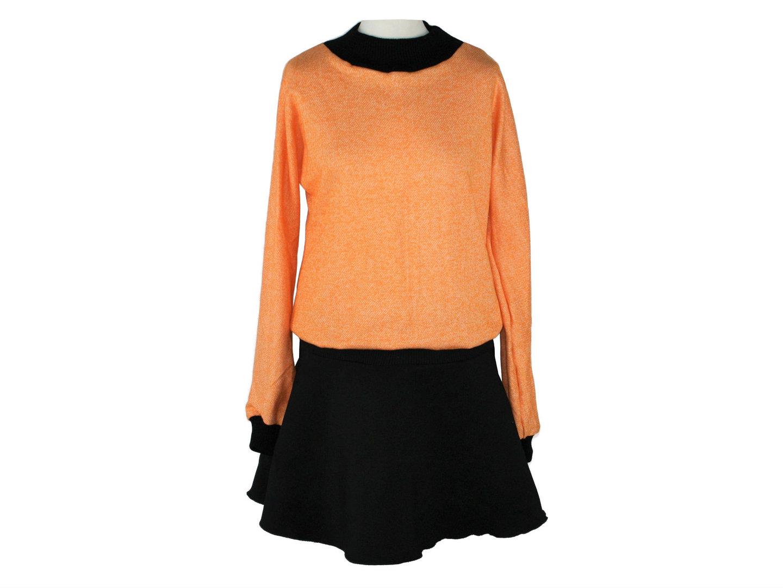 Kleid Langarm Schwarz Orange