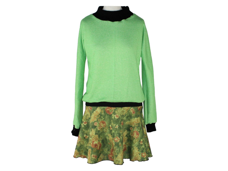 Kleid Langarm Grün Schwarz