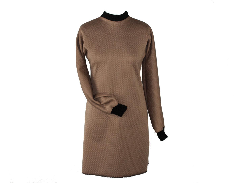 Kleid Langarm Cloque Jersey Braun