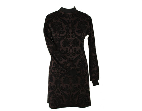 dress longsleeve dress cloque black brown