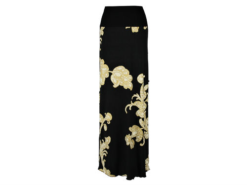 skirt maxi black gold