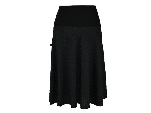 skirt maxi black cloque