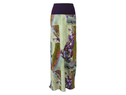 skirt maxi purple green
