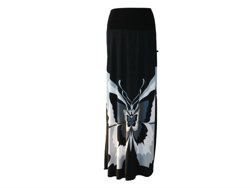 skirt maxi butterfly black