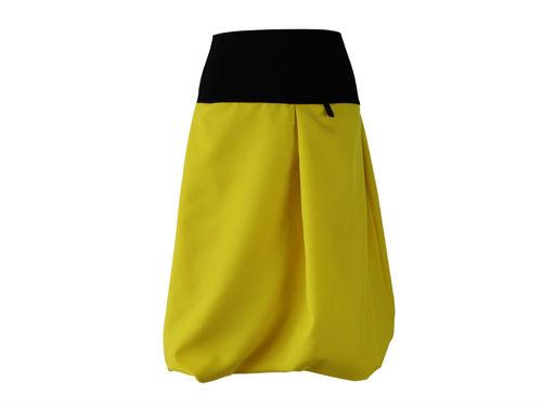 bubble skirt midi yellow