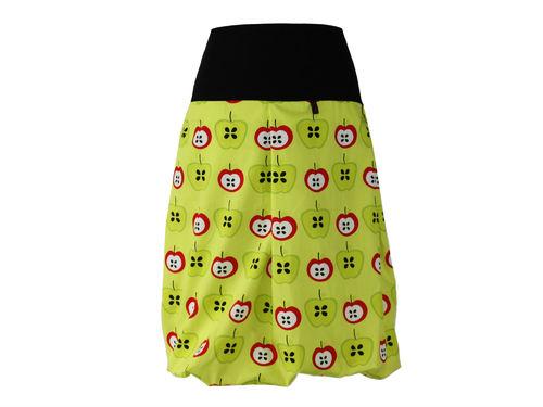 bubble skirt midi yellow apples