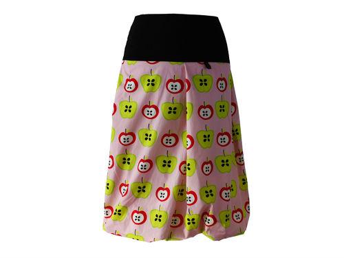 bubble skirt midi pink apples