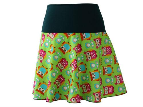 skirt mini green owls