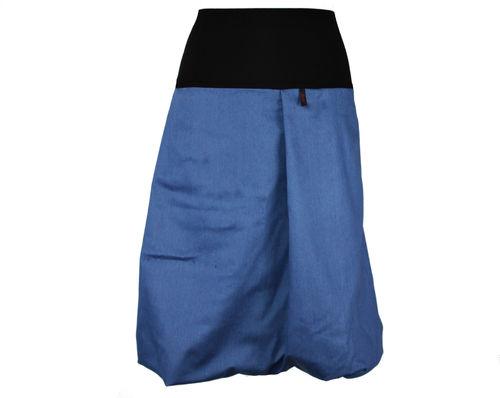 Ballonrock Midi Jeans Blau