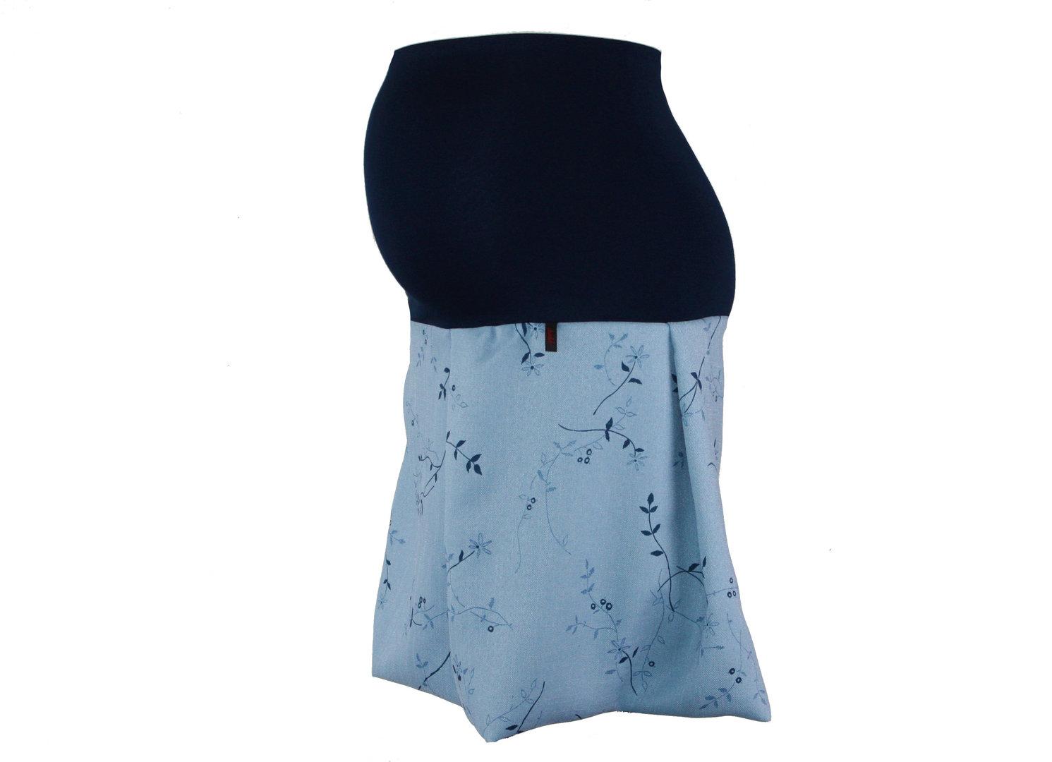 maternity skirt bubble flowers blue