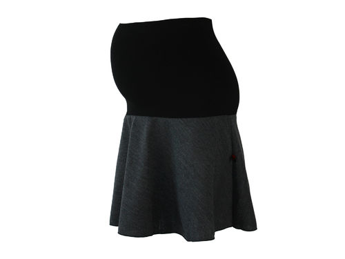 maternity skirt mini knit gray