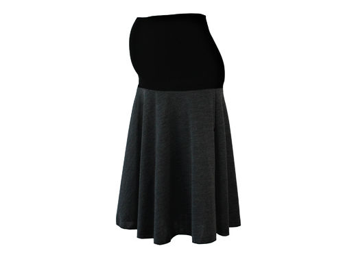 maternity skirt midi knit gray