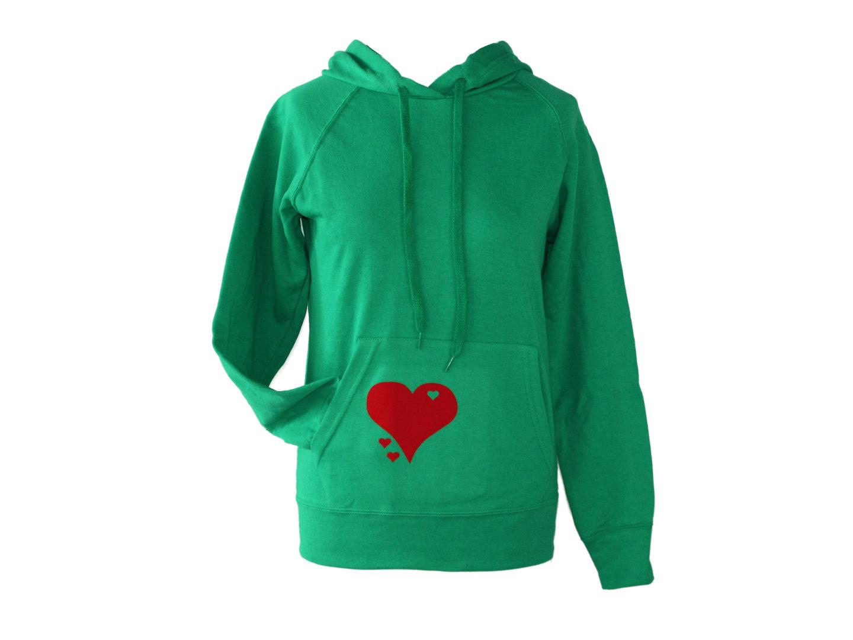 Hoodie Kapuzenpullover Grün Herz