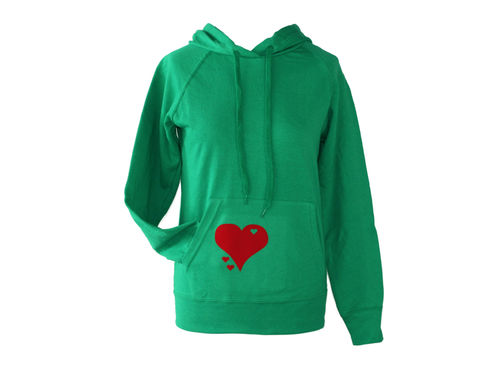 hoodie - sweater green heart